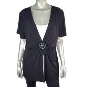 Notations Womens 2Fer Top Plus Size 1X